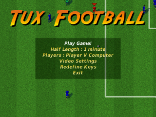 Menu of Tux Football 0.3